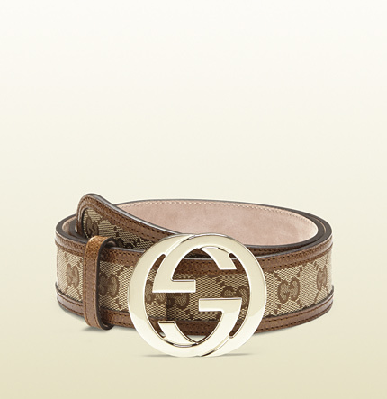 Gucci original GG canvas belt with interlocking G buckle