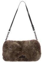Christian Dior Fur & Canvas Shoulder Bag