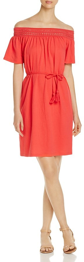 Vero Moda Crochet Trim Off-The-Shoulder Dress