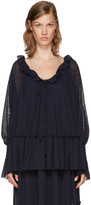 See by Chloe Navy Gauze Jersey Blouse