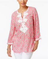 Charter Club Petite Embroidered Printed Tunic, Only at Macy's