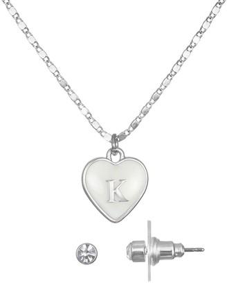 Lauren Conrad Initial Heart Necklace & Earrings Set