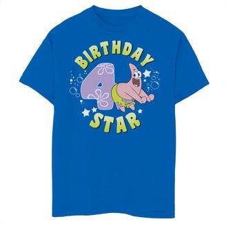 SpongeBob Squarepants Licensed Character Boys 8-20 Patrick 4th Birthday Star Short Sleeve Tee