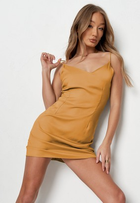 Missguided Mustard V Neck Cami Slip Dress