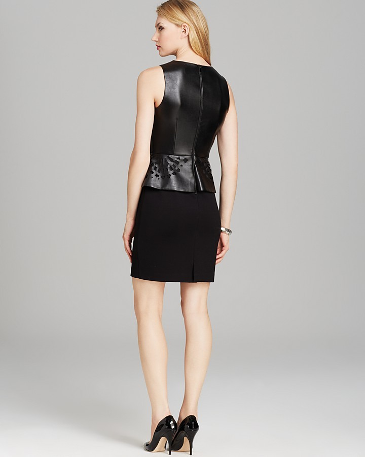 Shelli Segal Laundry by Petites Laser-Cut Faux Leather Ponte Dress - Sleeveless