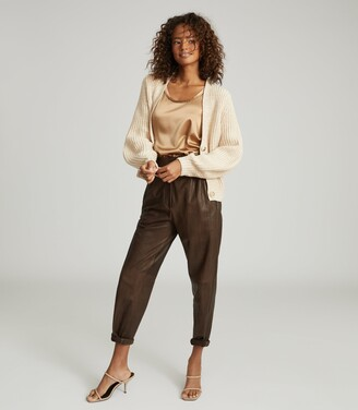 Reiss Olivia - Cotton-blend Short Cardigan in Neutral
