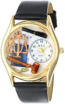 Whimsical Watches Women's C0620002 Classic Gold Lawyer Black Leather And Goldtone Watch