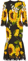 Dolce & Gabbana Embellished Lace-trimmed Printed Cady Midi Dress - Yellow