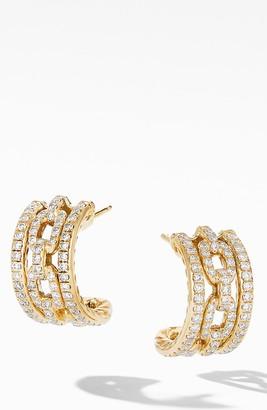 David Yurman Stax Chain Link & Pave 18k Yellow Gold Huggie Hoop Earrings