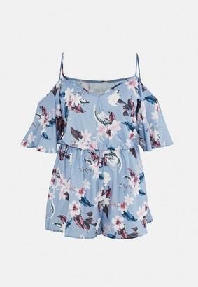 Missguided Size Blue Floral Print Cold Shoulder Playsuit