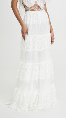 Costarellos Embroidered Silk Chiffon Skirt