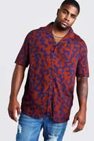 BoohoomanBoohooMAN Mens Orange Big & Tall Revere Collar Abstract Print Shirt, Orange