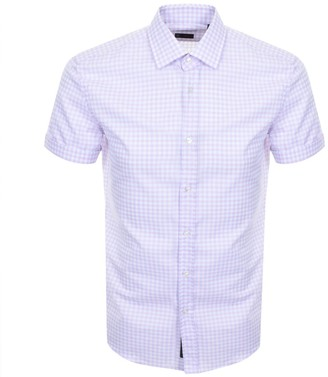 Boss Business BOSS HUGO BOSS Short Sleeved Slim Fit Shirt Pink