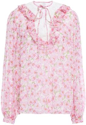 Giambattista Valli Guipure Lace-trimmed Floral-print Silk-chiffon Blouse