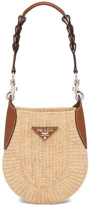Prada Crocheted Logo Plaque Shoulder Bag