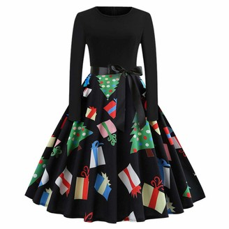 VECDY Women's Retro Fashion Trends Shaped Print Long Sleeve Happy Halloween Party Party Swing Dress and Calf Dress (14