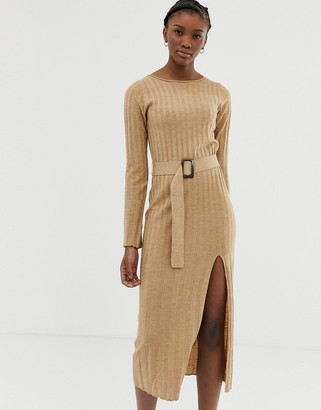 Asos Design DESIGN belted knit midi dress with split-Stone