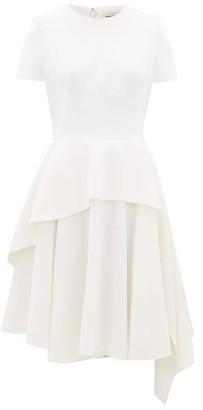 Alexander McQueen Asymmetric Wool Grain De Poudre Dress - Womens - Ivory