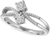 Macy's Diamond Two-Stone Bypass Ring (1/10 ct. t.w.) in Sterling Silver