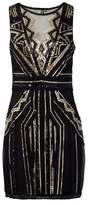 Dorothy Perkins Womens Izabel London Black Sequin Sheer Dress, Black