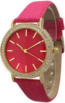 OLIVIA PRATT Olivia Pratt Womens Gold-Tone Rhinestone Accent Hot Pink Denim Faux Leather Strap Watch 14087