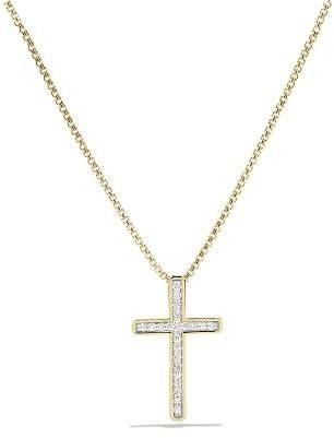 David Yurman Petite Pavé Cross Necklace with Diamonds in Gold