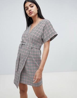 Asos DESIGN wrap mini dress in check with kimono sleeve