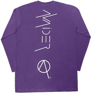 Avaider Streetwear Back Logo Crew Neck Long Sleeve T-Shirt In Purple