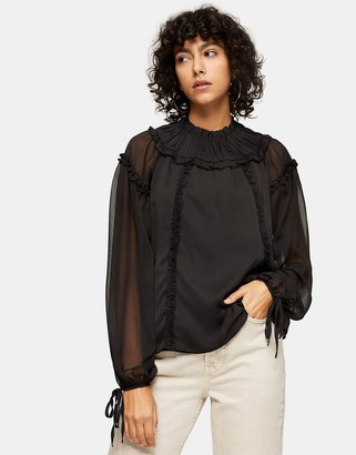 Topshop ruffle yoke blouse in black
