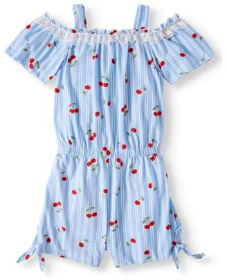 One Step Up Printed Stripe Romper with Lace Trim (Little Girls & Big Girls)