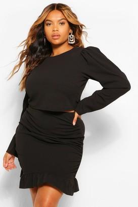 boohoo Plus Puff Sleeve and Frill Hem Mini Skirt Co-Ord