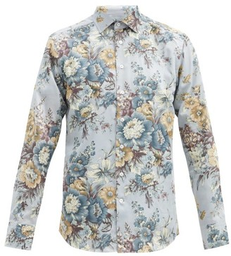 Etro Floral-shirt Cotton-poplin Shirt - Blue Multi