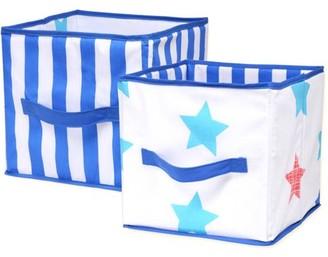 NoJo Little Bedding by Boy Stars Print Collapsible Storage Bin, 2pk