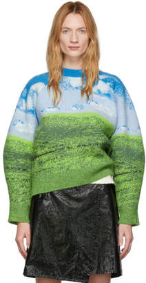 Sunnei Blue and Green Wool Skyline Sweater