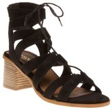 Sole New Womens Black Philo Suede Sandals Gladiators Lace Up