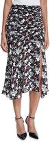 Veronica Beard Madison Floral Silk Midi Skirt, Black/Navy/Red/White