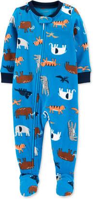 Carter's Carter Baby Boys 1-Pc. Animal-Print Fleece Footie Pajamas