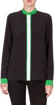 Kenzo Long-Sleeve Colorblock Silk Crepe de Chine Blouse, Black