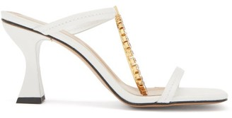 J.W.Anderson Crystal-embellished Square-toe Leather Sandals - White