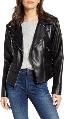 French Connection Quilted Back Faux Leather Moto Jacket