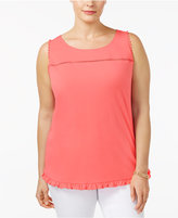NY Collection Plus Size Button-Back Top