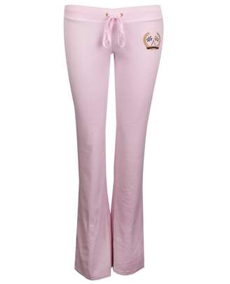 Juicy Couture Del Ray Flag Velour Pants Colour: PINK LADY, Size: LARGE