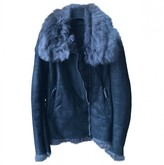 CNC Costume National Grey Shearling Leather Jacket for Women