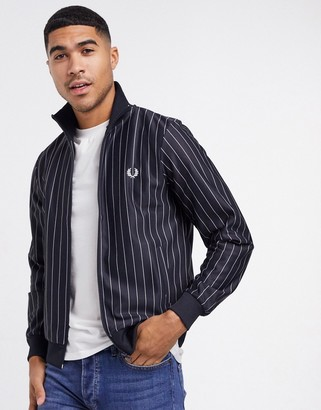 Fred Perry pin stripe track jacket in navy