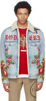 Gucci Blue Denim Shearling Embroidered Modern Future Jacket