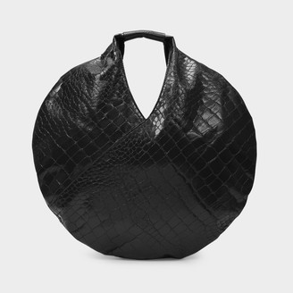 MM6 MAISON MARGIELA Circular Classic Japanese Shoulder Bag In Black Croco Synthetic Leather