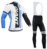 Lucky shop Cycling Jersey 2014 Outdoor Sports Pro Team Men's Long Sleeve Giant Cycling Jersey and Bib Pants Set Blue