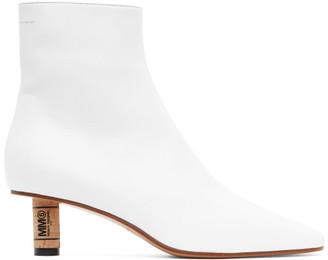 MM6 MAISON MARGIELA White Cork Heeled Ankle Boots