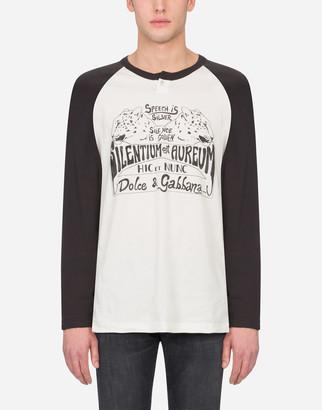 Dolce & Gabbana Printed Cotton Granddad-Neck T-Shirt