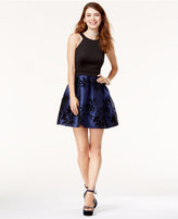 Teeze Me Juniors' Flocked Pleated-Skirt Fit & Flare Dress